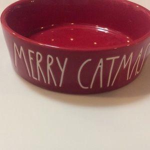 Rae Dunn RED MERRY CATMAS cat dish